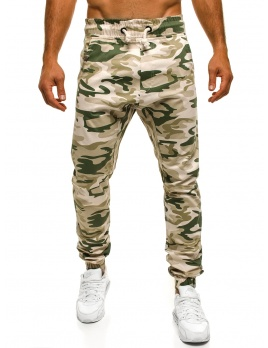 Pánske maskáčové nohavice ATH - bežové XL