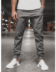 Pánske chino nohavice - joggery O/399 tmavošedé XXL