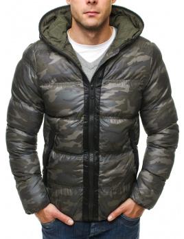 Pánska zimná bunda ST18 - maskáčovo-tmavozelená M