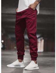 Pánske chino nohavice - joggery O/399 bordové S