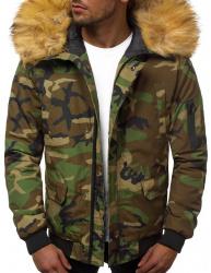 Pánska zimná bunda JS/201901 maskáčova zelená XL