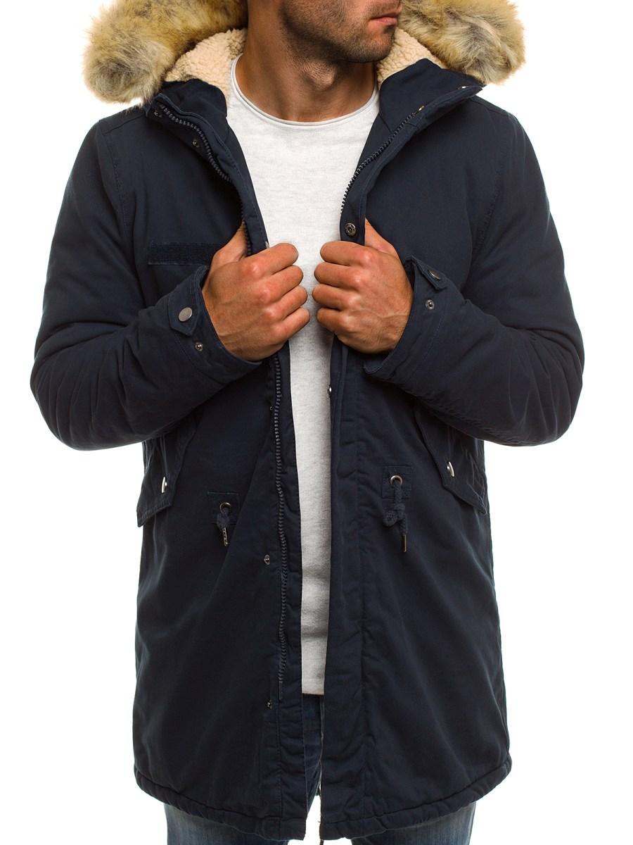 Pánska zimná bunda AK02 - tmavomodrá XXL 06e33d963e3